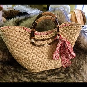 Handbags - Rattan Seagrass tote with drawstring lining